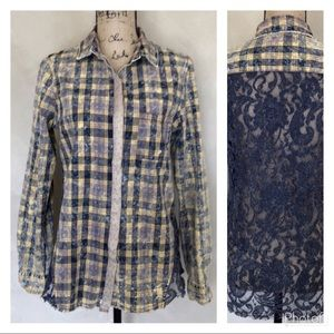 BKE distressed plaid button front top, lace back